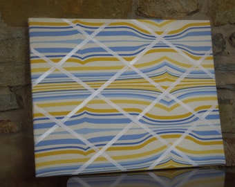 16x20 French Memo Board - Yellow and Blue Wonky Stripe - Unframed