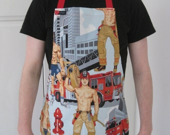 GAYPRON - Mens/womens aprons in retro NYC Firefighters pin-up fabric by Alexander Henry