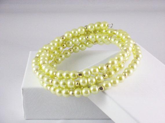 Wrap Bracele,t Memory Wire in Yellow