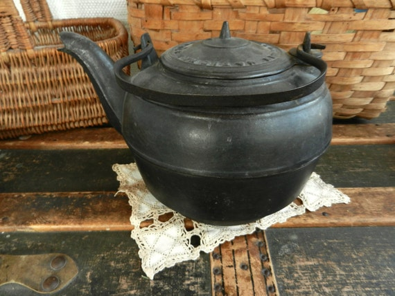Large Antique Cast Iron Steamer Kettle Made In New York