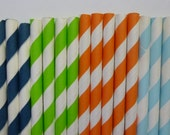 50 Toy Story  Mixed- Light Blue Lime Green Orange Navy Blue Striped Paper Straws-Buzz Lightyear Woody Birthday Party- Dinosaur Decorations