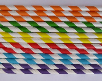 50 Rainbow Mixed- Purple Yellow Red Blue Green Orange Striped Paper Straws-Candy Land Birthday Party- Ice Cream Shoppe Decorations