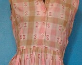 1950s Plaid Sundress/ Vintage Shirtwaist Summer Dress