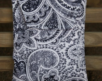 NAVY and WHITE PAISLEY stripe Diaper and Wipes Holder/ Case