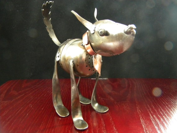 Tea infuser dog metal sculpture, stainless steel