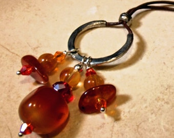 Necklace Handmade Salsa Agate and Crystal Hand Wire Wrapped Beaded Hammered Silver Pendant Drop on Leather