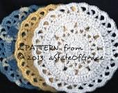Dishcloth PATTERN # 4, Washcloth, Coaster, Doily, Hotpad, Crochet, INSTANT DOWNLOAD