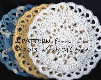 Dishcloth PATTERN # 4, Washcloth, Coaster, Doily, Hotpad, Crochet, INSTANT DOWNLOAD