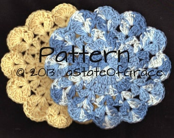 Dishcloth PATTERN # 5, Washcloth, Coaster, Doily, Hotpad, Crochet, INSTANT DOWNLOAD
