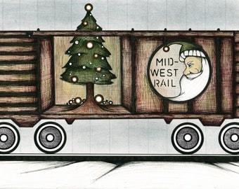Vintage Santa Train Drawing, Rusty Railroad Car Illustration, Pretty Green Christmas Tree Poster, Fanciful Christmas Winter Art Print