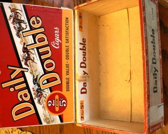 vintage Retro funky kitsch...  Wooden CIGAR BOX Daily DOUBLE  ...