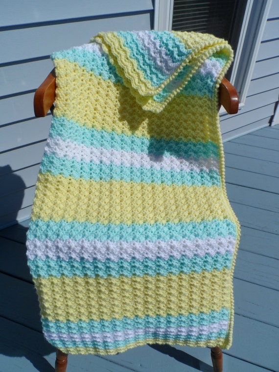 Crochet Baby Blanket Crib Size Afghan Yellow By Patscraftsshop