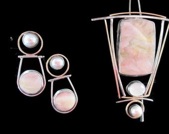 Pink Agate Pearl Moonstone Necklace  Brooch Earrings by D & D Design