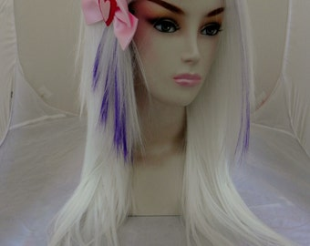 SUMMER SALE // White and Purple / Long Straight Layered Wig