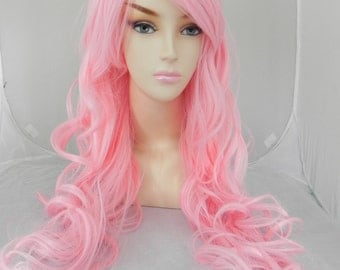 Cotton Candy Pink / Long Curly Layered Wig with Natural Scalp Piece Cosplay Wig, Costume Wig, Daily Wear