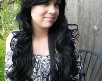 Black / Long Curly Layered Wig Mermaid Hair with Natural Scalp Piece