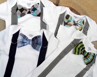 Baby Boy Bowtie & Suspender Bodysuit - Pick Your Own - Little Man, Photo Prop, Baby Shower Gift