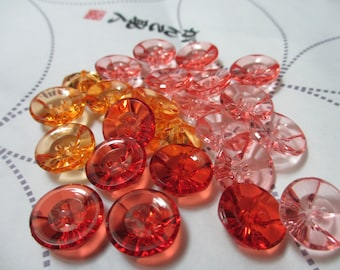 Mixed Lot of  24 Vintage 15 mm Transparent Clear Faceted Carved  2 Hole Lucite Buttons in 4 Different Shade of Orange