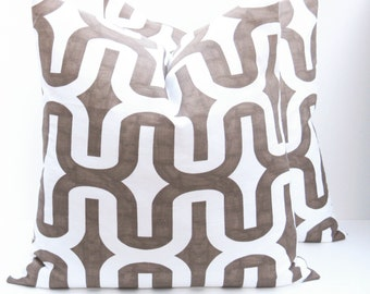 20x20 Throw Pillow Covers.Chocolate Brown.Ikat Pillow.Brown and White Pillow.Dark Brown.Housewares. Printed fabric on front and back