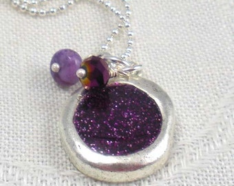 Pendant: glittery purple resin in engraved bezel with jasper and czech glass accents