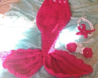 Little Girls mermaid set, 3T-4T (3-4years) fuchsia pink mermaid tail, mermaid outfit, mermaid costume,Halloween crochet mermaid photo prop