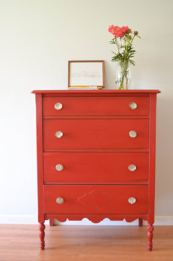 Chest Of Drawers Painted Red