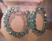 Hoop Earrings Sea Blue Crystals// Sterling Perfect Summer Earrings