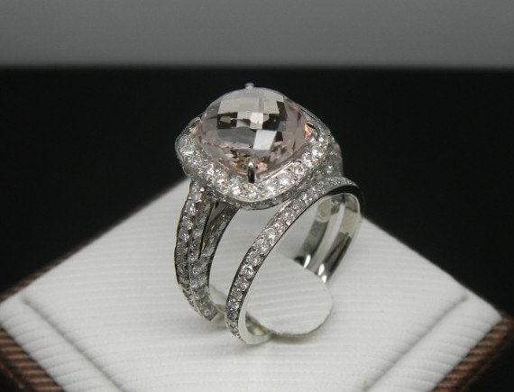 Engagement Ring 3 Carat Morganite Ring Set With by stevejewelry
