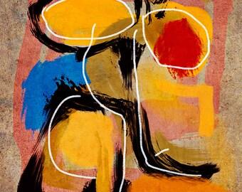 Fache, A Gestural Collage Drawing, Modern Art, Abstract Art, Home Decor, Office Decor