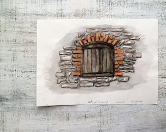 Walls of Limerick, Ireland original watercolor painting 8x12 watercolor nursery art