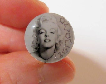Marilyn with Silver Stars Plugs Handmade Gauges Acrylic Tunnels Ear Expander