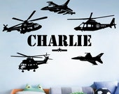 StickTak Stickers CUSTOM NAME ARMY Helicopter Fighter Jet Wall Art Vinyl Decal Sticker