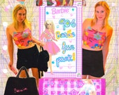 90s BARBIE FUN PACK fuzzy backpack, velcro wallet and floral crop top
