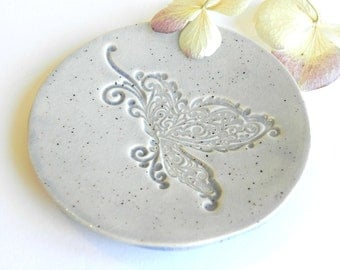 Flying Butterfly Ceramic Plate Blue Dots Pottery Dish Ring Holder