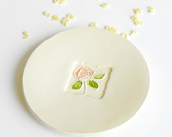 Ceramic Dish Rose Ring Holder Wedding Favors White Pottery Plate