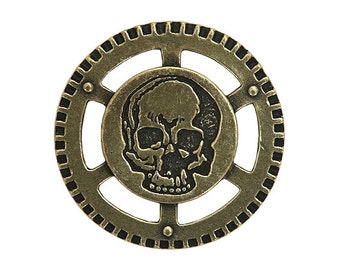 2 Steampunk Air Pirate Skull 1.25 inch ( 31 mm ) Metal Buttons Antique Brass Finish