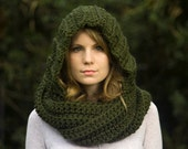 Hooded Scarf, Scoodie, Olive Green Crochet Hood, Pixie Woodland Forest Green Scarf with Hood