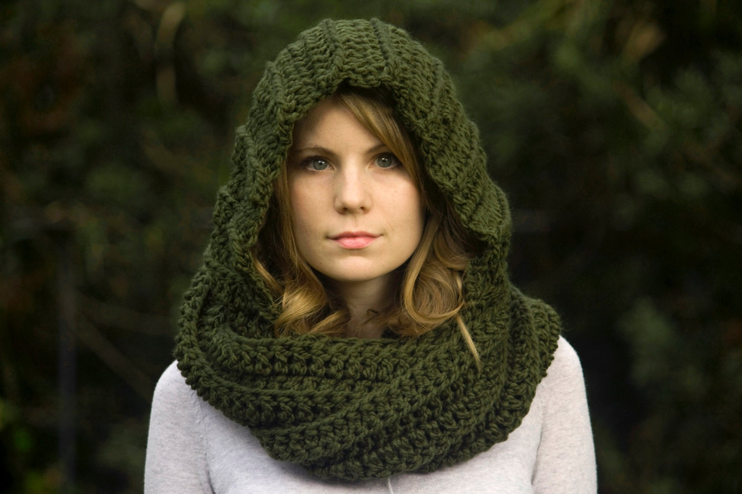 One Skein Knitting Pattern : Hooded Scarf Scoodie Olive Green Crochet Hood Pixie