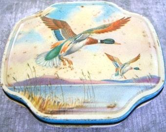 Vintage Horner tin with Mallard Ducks flying collectible tin 1950s