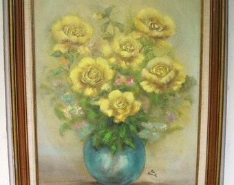 Vintage Yellow Rose Floral Bouquet in a wooden framed signed oil painting