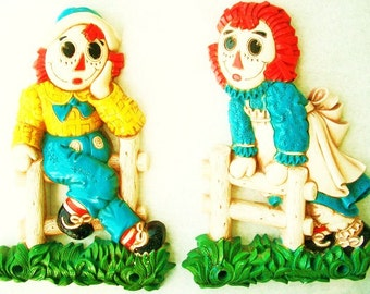 Vintage Raggedy Ann And Andy Wall Plaques Syroco 1977 Childrens Room Decor Bobbs Merrill Company