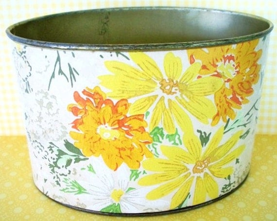 Vintage tin storage container covered with floral daisy vintage wallpaper Desk Top Container Bathroom Kitchen Office