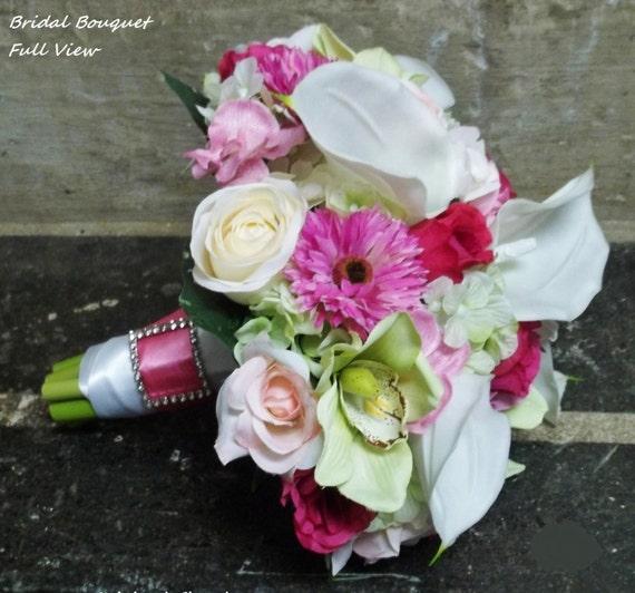 custom order for courtney 5 piece wedding flower bouquet set. Black Bedroom Furniture Sets. Home Design Ideas