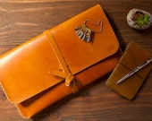 """Leather MacBook Air 11"""" Case/Portfolio - Saddle Tan color  Made from veg tan leather, 100% hand stitched."""