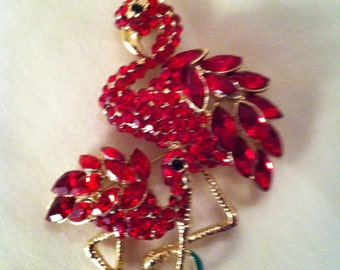 Flamingo Blingy Brooch