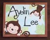 Monkeys Bedding Name Canvas