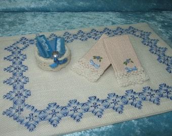 Cross stitch towel, bath, accesorie miniature towel, handmade miniature - Dollhouses Miniature scale 1:12
