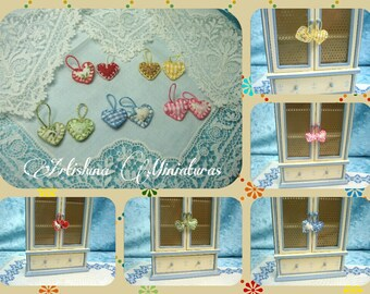 Hanging decorative hearts style shabby, hangers hearts miniature handmade, ornament miniature - Dollhouses Miniature scale 1:12