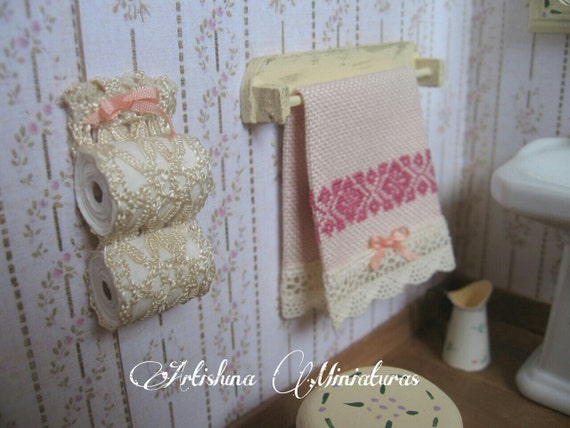 Toilet paper holder style Shabby/Victorian, accesories bath miniature, miniature decor handmade, - Dollhouses Miniature scale 1:12