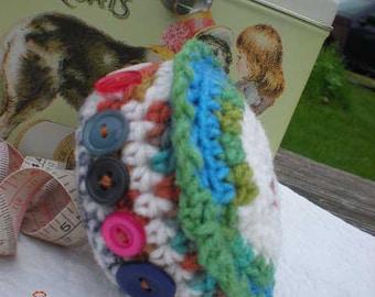 Crochet Button Love Pincushion